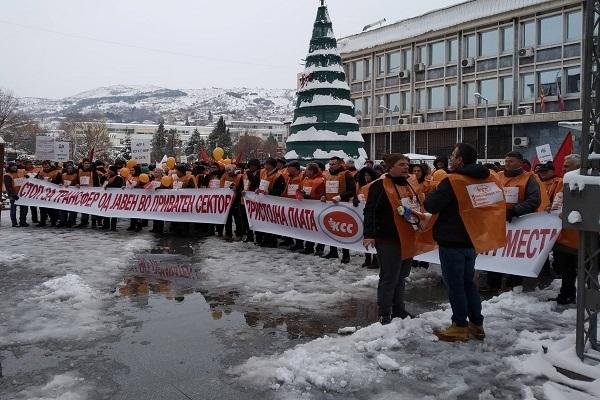 Протест на КСС и СОНК, 26 јануари, Штип/ фотографија: С. Живкова